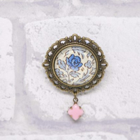 Blue Rose William Morris Style Glass Brooch with Pink Milk Glass Drop