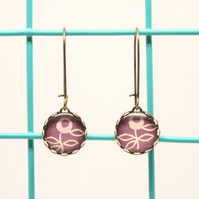 Dainty Glass Drop Earrings in Purple Flower Design