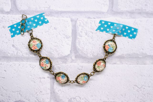 Coral and Blue Pretty Glass and Antiqued Bronze Bracelet