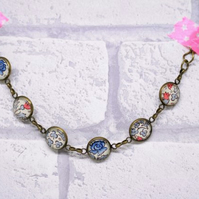 Blue William Morris Style Pretty Glass and Antiqued Bronze Bracelet