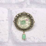 Green Rose William Morris Style Glass Brooch with Green Milk Glass Drop