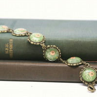 Olive Green Flower Glass and Antiqued Bronze Bracelet