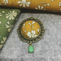 Liberty Fabric Brooch in Capel Mustard