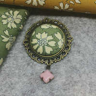 Liberty Fabric Brooch in Capel Sage Green
