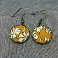 Liberty of London Fabric Button Earrings in Capel Mustard