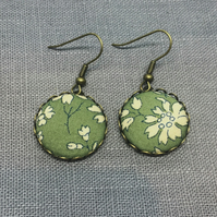 Liberty of London Fabric Button Earrings in Capel Sage Green
