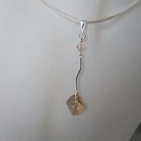 Honey Coloured Swarovski Crystals & Solid Sterling Silver Curved Bar Pendant
