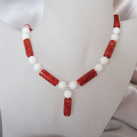Chunky Red Sponge Coral & Snow White Agate Sterling Silver Drop Necklace