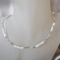 White Turquoise Tubes & Sterling Silver Wave Tubes Hand Made Necklace