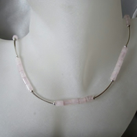 Baby Pink Rose Quartz Column Tubes & Sterling Silver Curves Hand Made Necklace