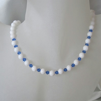 Snow White Agate & Mid Blue Swarovski Crystals Sterling Silver Necklace