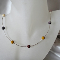 Multi Colour Mookaite Jasper & Sterling Silver Curve Tubes Necklace