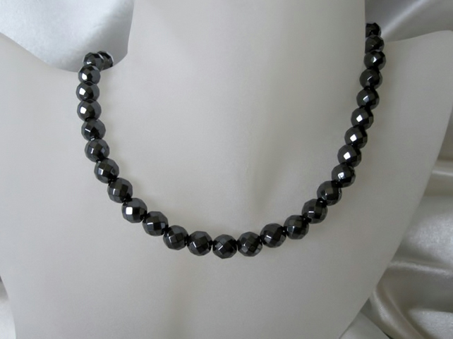Handmade Faceted Hematite Unisex Beaded Sterling Silver Necklace