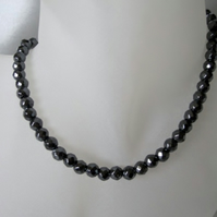 Faceted Hematite Bead Sterling Silver Slim Unisex Necklace