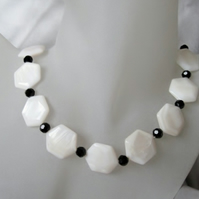 Hexagonal White River Shell & Faceted Black Crystal Hand Made Necklace