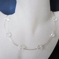 Faceted Clear Rock Crystals & Sterling Silver Curved Tubes Designer Necklace