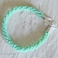 Frosted Pastel Mint Green Beaded & Braided Woven Kumihimo Bracelet