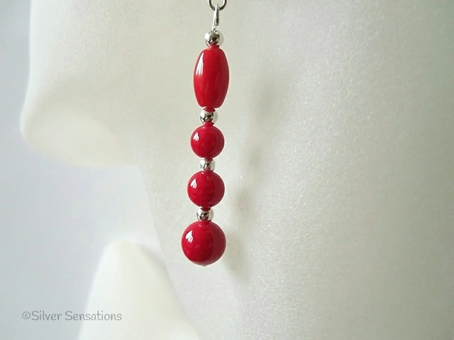 Rich Red Coral & Sterling Silver Beaded Drop Earrings