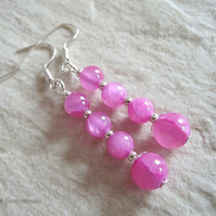 Fuchsia Pink Jade & Silver Plated Fashion Dangly Earrings