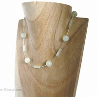 Pale Pastel Green New Serpentine Jade & Sterling Silver Tubes Necklace