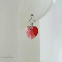 Pink Orange Swarovski Heart Crystals & Sterling Silver Elegant Stud Earrings