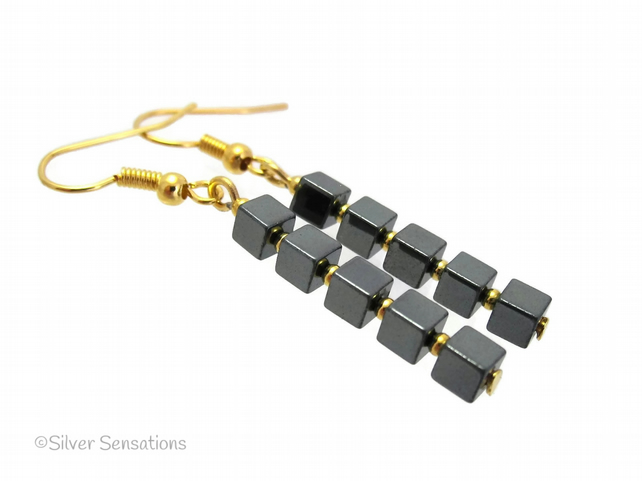Black Hematite Cube Beads & Gold or Silver Handmade Drop Fashion Earrings