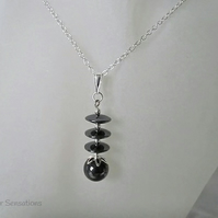 Hematite Discs & Sterling Silver Pendant Necklace