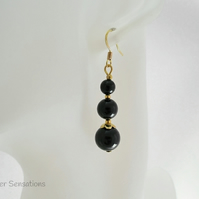 Jet Black Onyx & Gold Plated Dangly Fashion Earrings