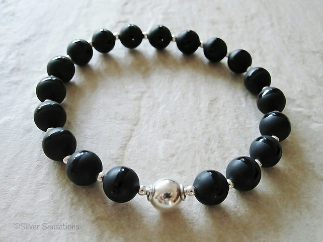 Frosted Black Onyx Stripe Beads & Sterling Silver Handmade Beaded Bracelet