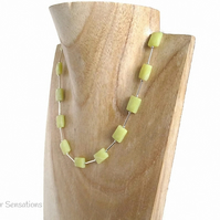 Yellow Olive Jade Faceted Oblongs & Sterling Silver Tubes Necklace