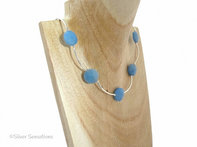 Blue Serpentine Jade Faceted Coins & Sterling Silver Curve Tubes Unique Necklace