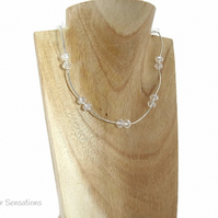 Faceted Clear Rock Crystal Rondelles & Sterling Silver Necklace