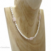 Faceted Baby Pink Rose Quartz, White Swarovski Pearls & Sterl Silver Necklace