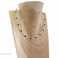 Brown Swarovski Crystals & Sterling Silver Tubes Slim Necklace