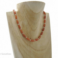 Dark Orange Red Aventurine Rice Beads & Sterling Silver Slim Necklace