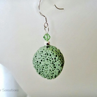 Pastel Green Volcanic Lava Coin, Swarovski Crystals & Sterl Silver Drop Earrings