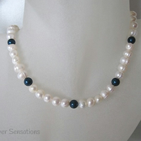 White Cultured Freshwater Pearls & Swarovski Petrol Pearls Sterl Silver Necklace