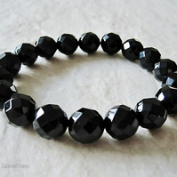 Chunky Faceted Black Onyx Beaded Stretch Bracelet