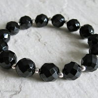 Chunky Faceted Black Onyx & Sterling Silver Beads Stretch Bracelet