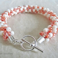 Pastel Peach & Cream Kumihimo Seed Bead Fashion Bracelet