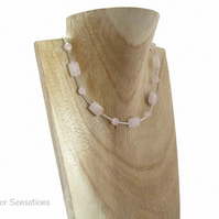 Baby Pink Rose Quartz Faceted Oblongs & Sterling Silver Tubes Necklace