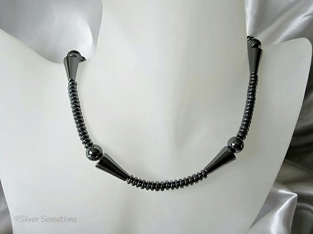 Hematite Cones & Discs Sterling Silver Medium Chunky Necklace