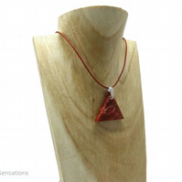 Red Sponge Coral Triangle Pendant & Sterling Silver Leather Necklace