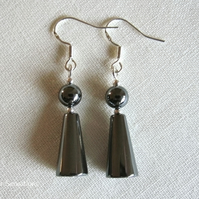Hematite Cones & Round Beads Sterling Silver Drop Earrings
