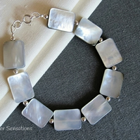 Silvery Grey Black Lip Shell Flat Oblong Beads & Sterling Silver Bracelet