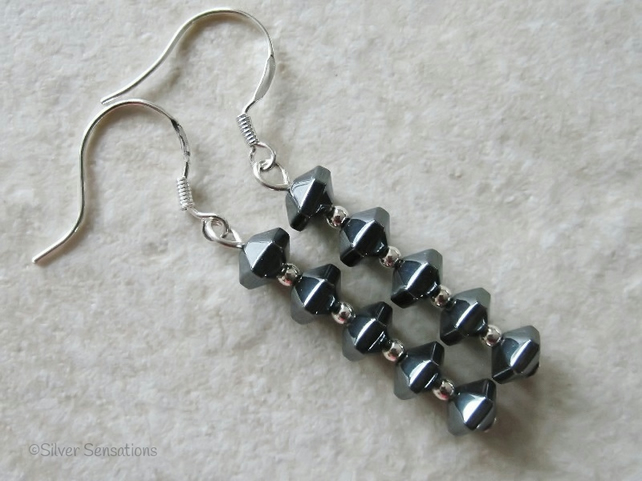 Hematite Faceted Bicone & Sterling Silver Slim Drop Earrings