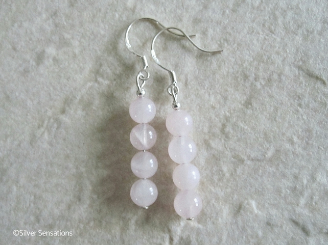 Baby Pink Rose Quartz Round Stack Sterling Silver Drop Earrings