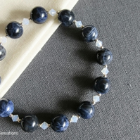 Dark Blue Sodalite, Opal Crystals & Sterling Silver Beaded Stretch Bracelet