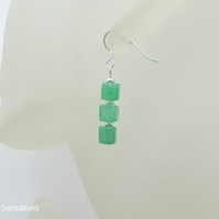 Brighter Green Aventurine Square Cube Stack Sterling Silver Handmade Earrings