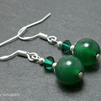 Green Onyx Beaded Drop Earrings With Swarovski Crystals & Sterling Silver